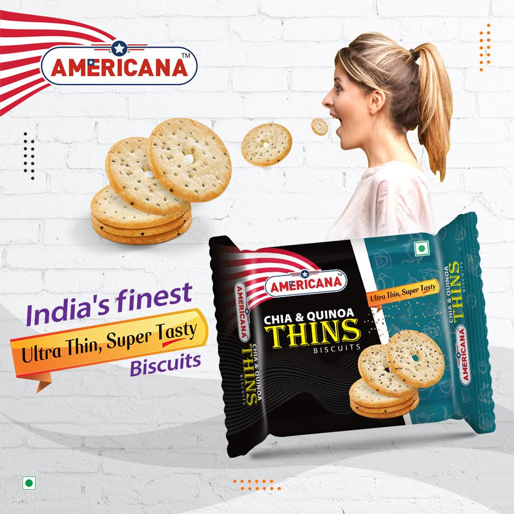 AMERICANA CHIA & Quinoa Thins Biscuits 75 g Pack