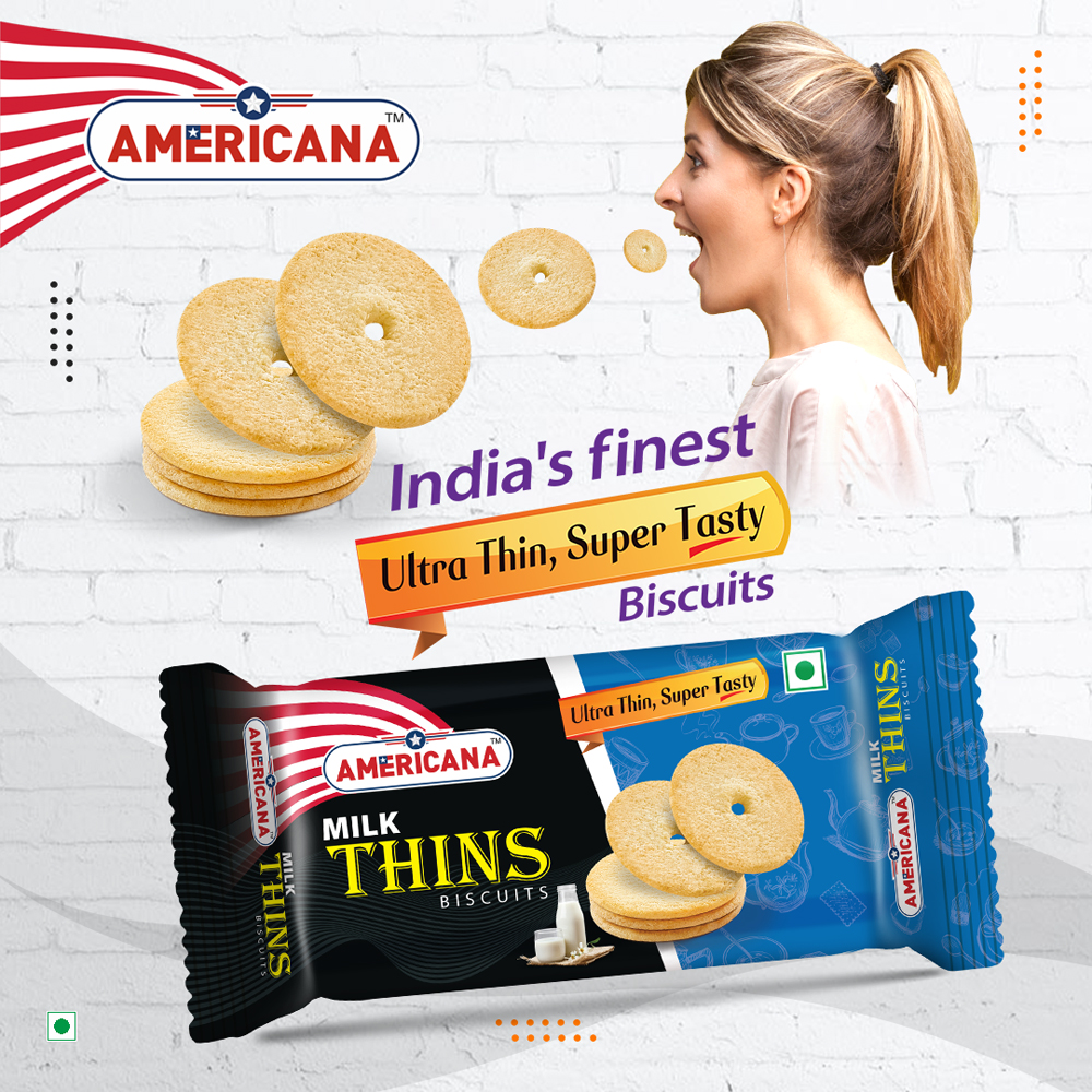 AMERICANA Milk Thins Biscuits 36 g Pack