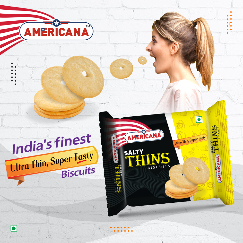 AMERICANA Salty Thins Biscuits 75 g Pack