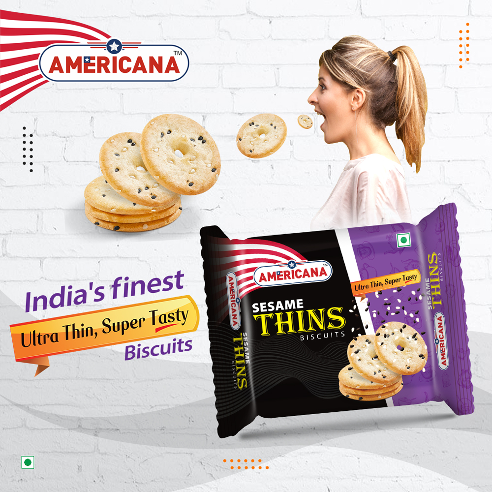 AMERICANA Sesame Thins Biscuits 75 g Pack
