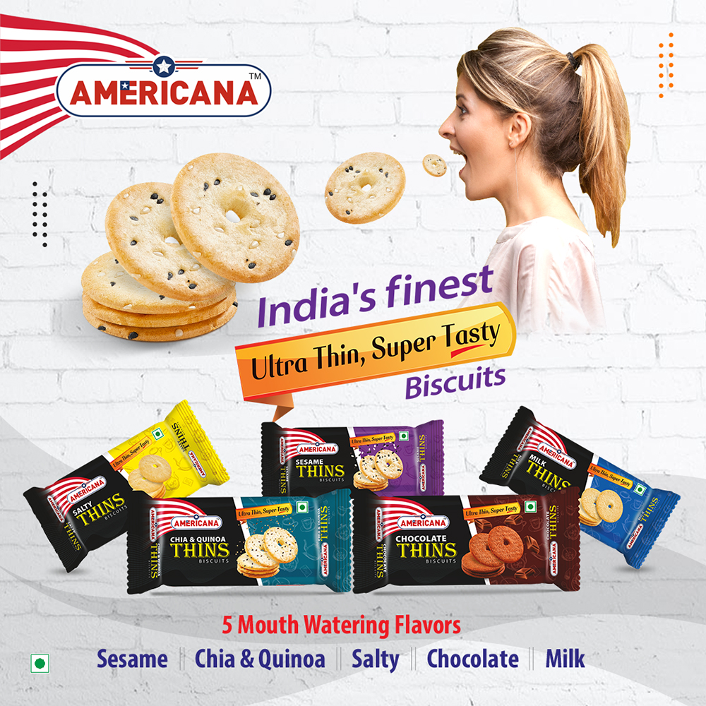 AMERICANA Mix Thins Biscuits Chocolate, Milk, Salty, Sesame Seeds, Chia&Quinoa 36 g Pack