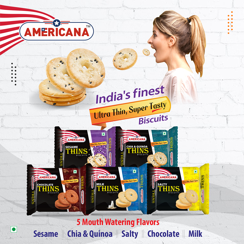 AMERICANA Mix Thins Biscuits Chocolate, Milk, Salty, Sesame Seeds, Chia&Quinoa 75 g Pack