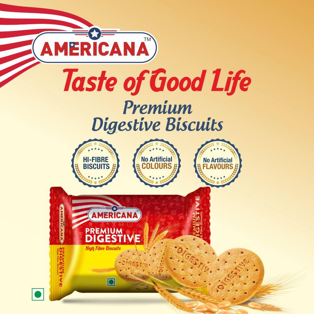 Americana Premium Digestive Biscuits, High Fibre Multi Grain, 200 g Packs