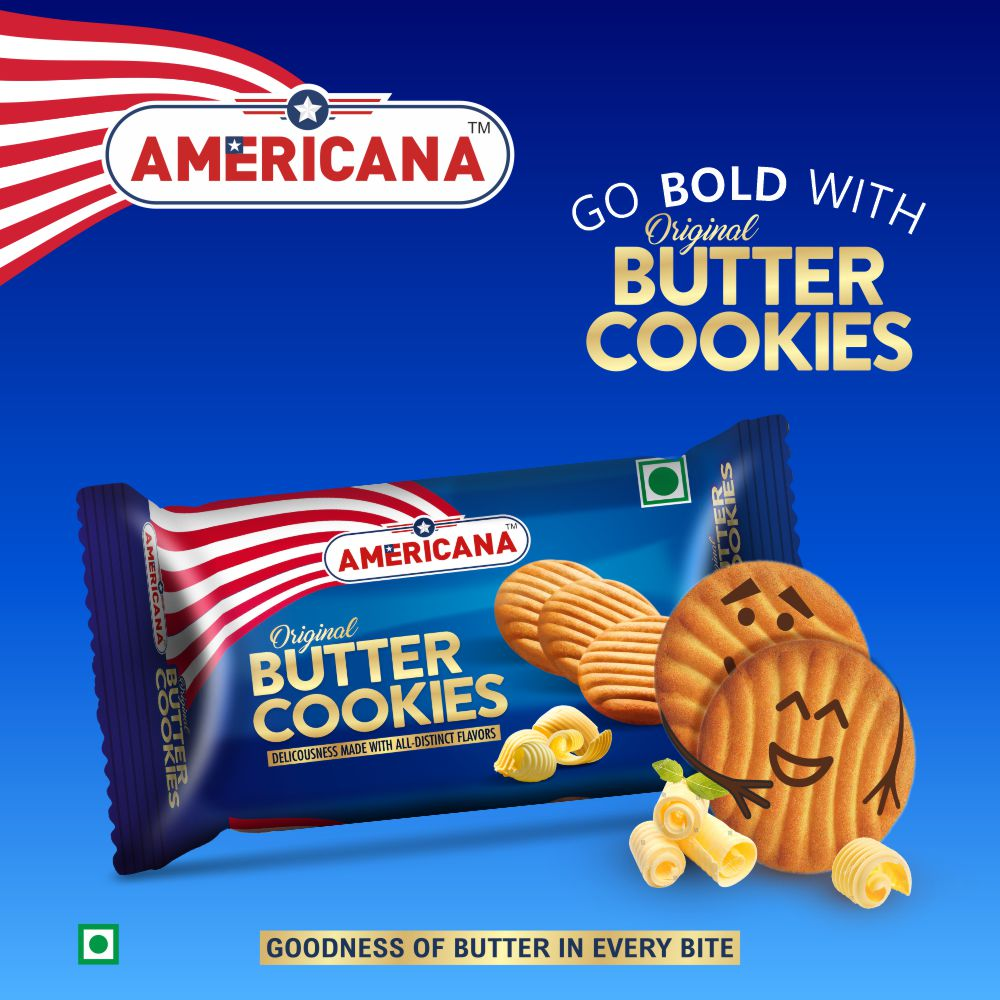 Americana Butter Cookies, Richness of Original Butter, 84 g Pack