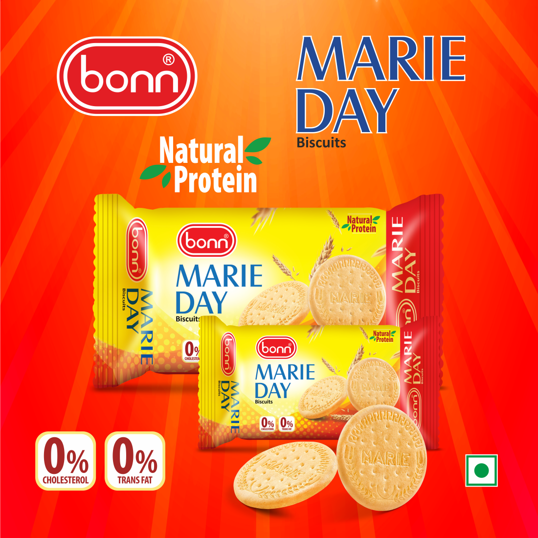 Bonn Marie Day Biscuits, Cholestrol Free, TransFat Free, Natural Protein, 80 g Pack