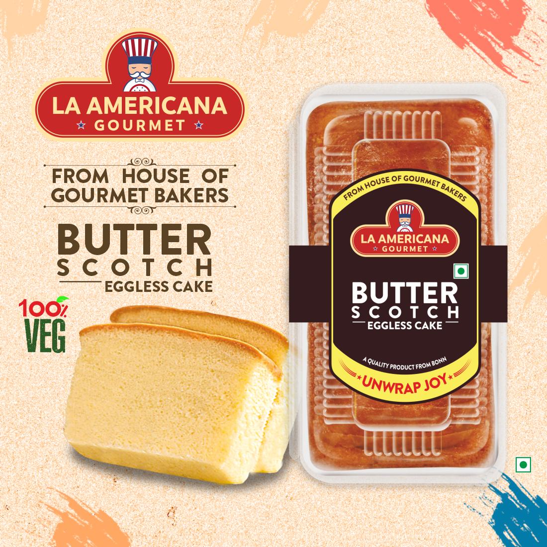 LA Americana Eggless Butter Scotch Cake 200 g Pack
