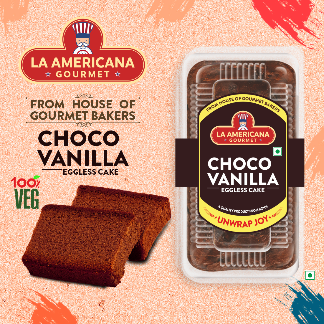 LA Americana Eggless Choco Vanilla Cake 200 g Pack