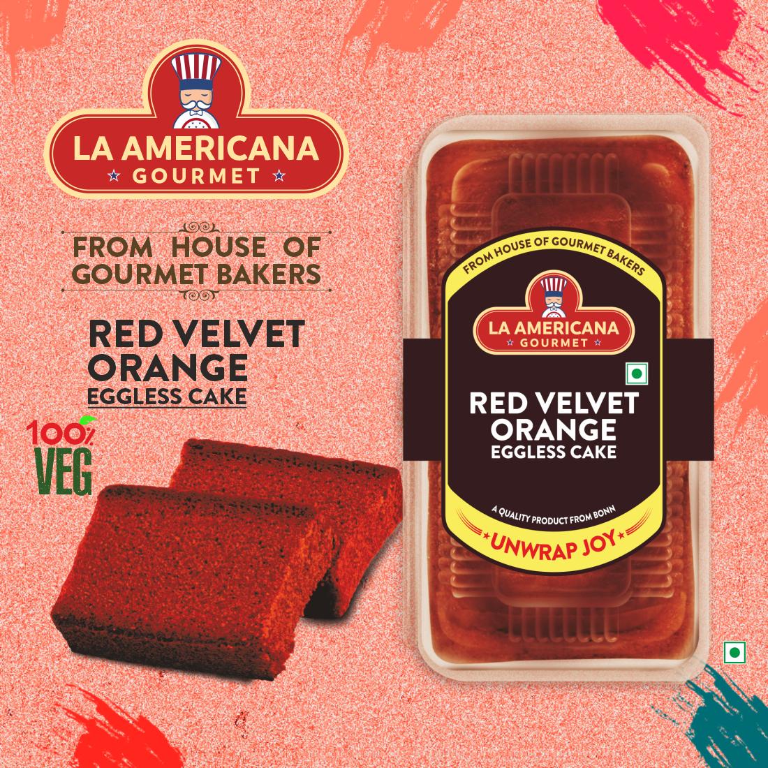 LA Americana Eggless Red Velvet Orange Cake 200 g Pack