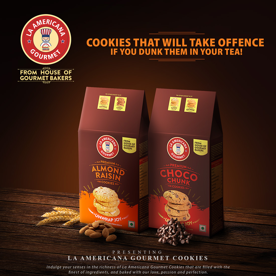 LA Americana Multi Pack Almond Raisin and Chocochunk Cookies, TWO pack each