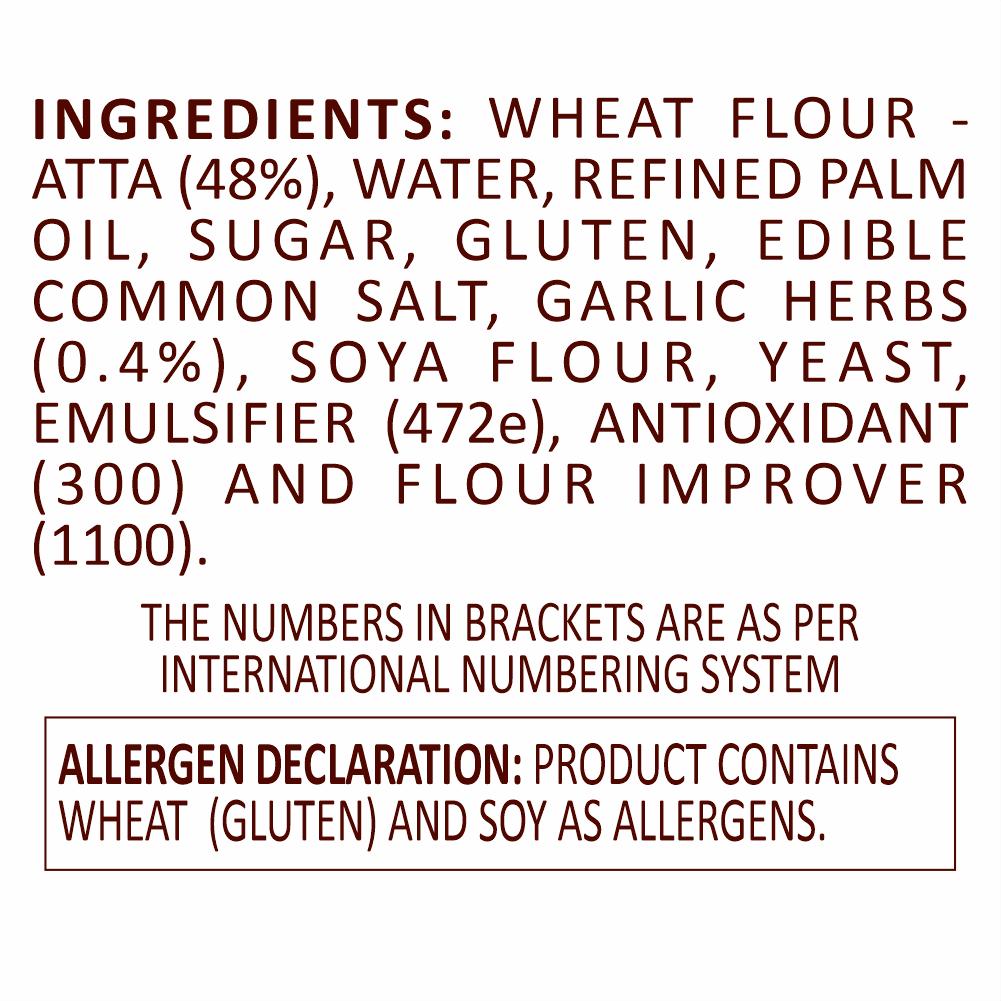 La Americana Wholewheat Garlic Sub roll Bread 150 g