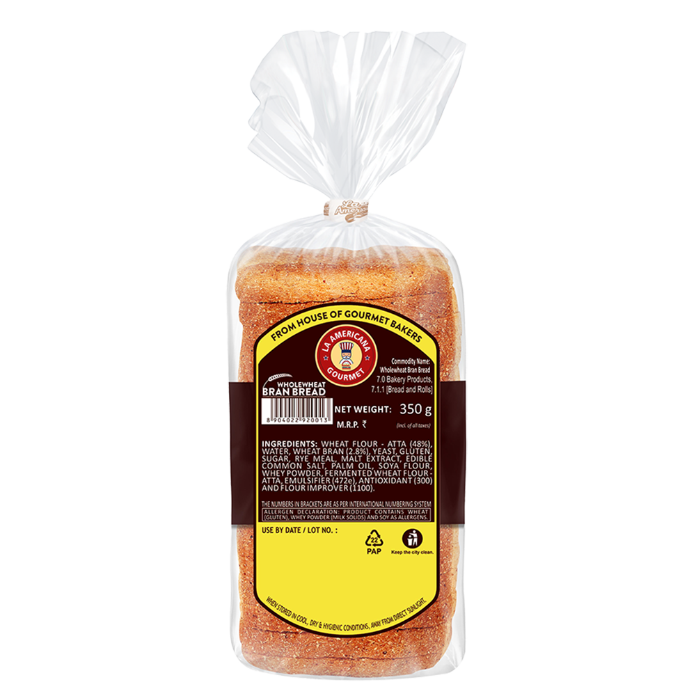 La Americana Wholewheat BRAN BREAD 350 g