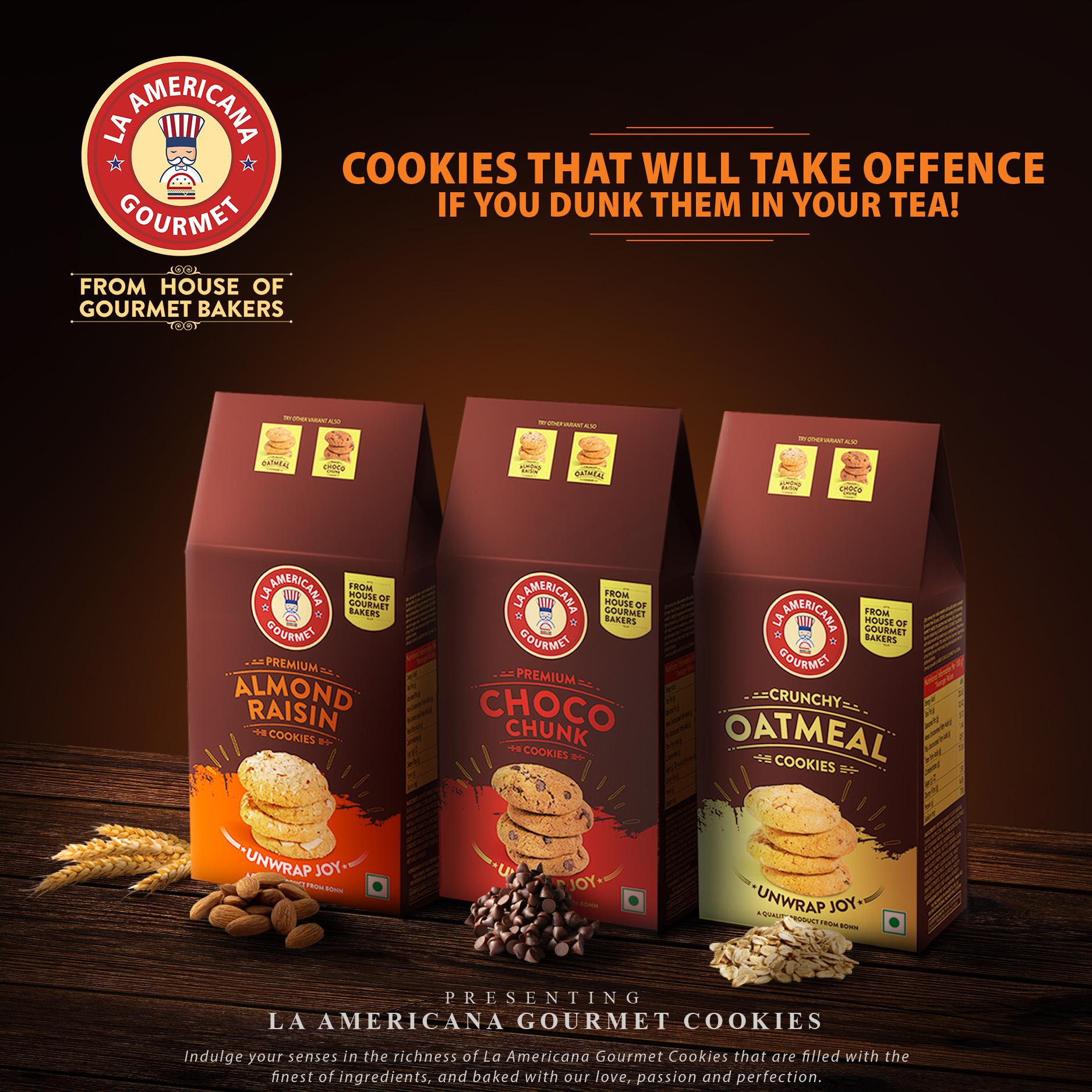 LA Americana Cookies Assorted Pack Almond Raisin, Oatmeal, Choco chunk Cookies 100 g Each