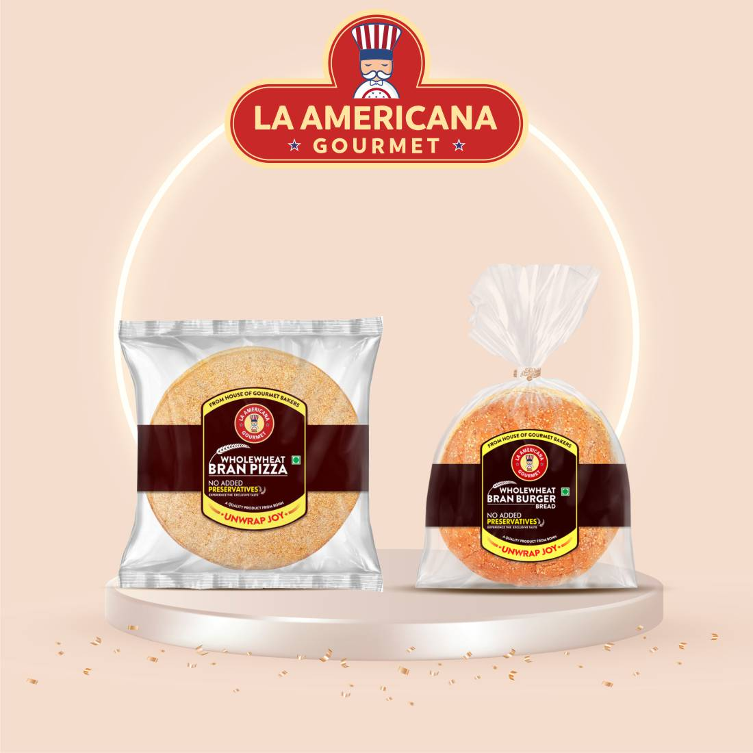 La Americana Wholewheat Bran Burger 150g, and La Americana Wholewheat Bran Pizza 200g, (Pack of 1 each)