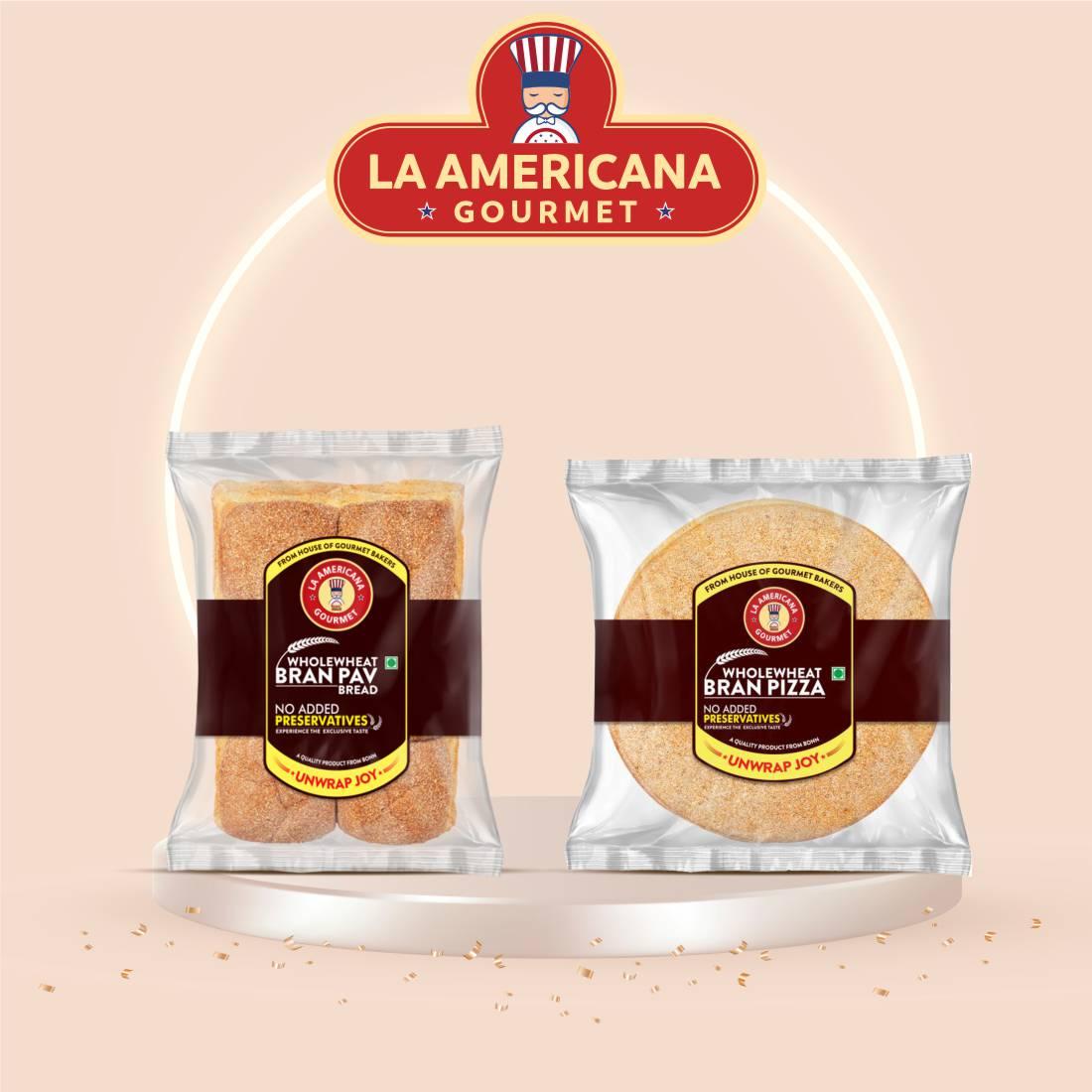 La Americana Wholewheat Bran Pav Bread 250g, and La Americana Wholewheat Bran Pizza 200g, (Pack of 1 each)