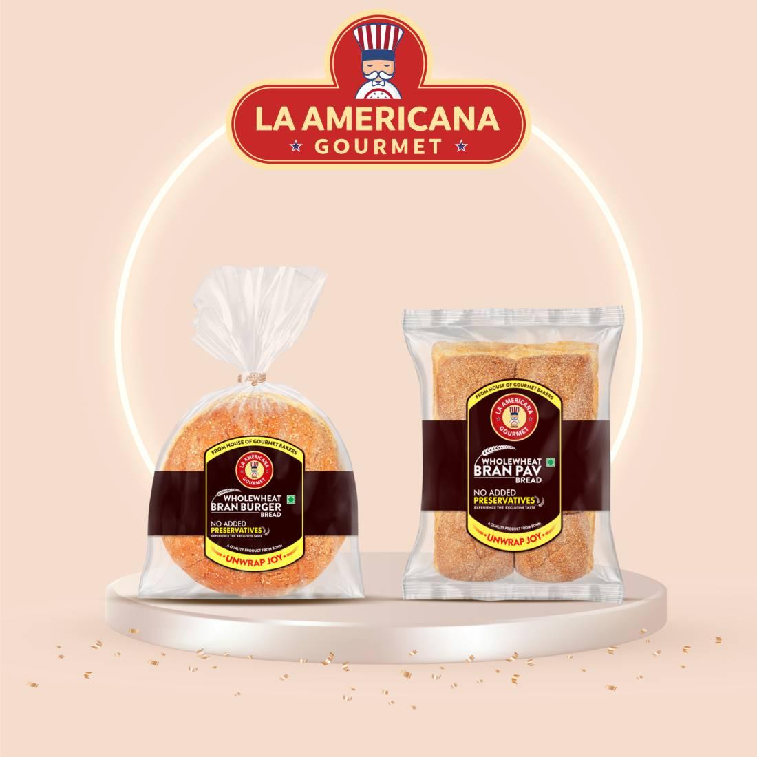 La Americana Wholewheat Bran Burger 150g, and La Americana Wholewheat Bran Pav Bread 250g, (Pack of 1 each)