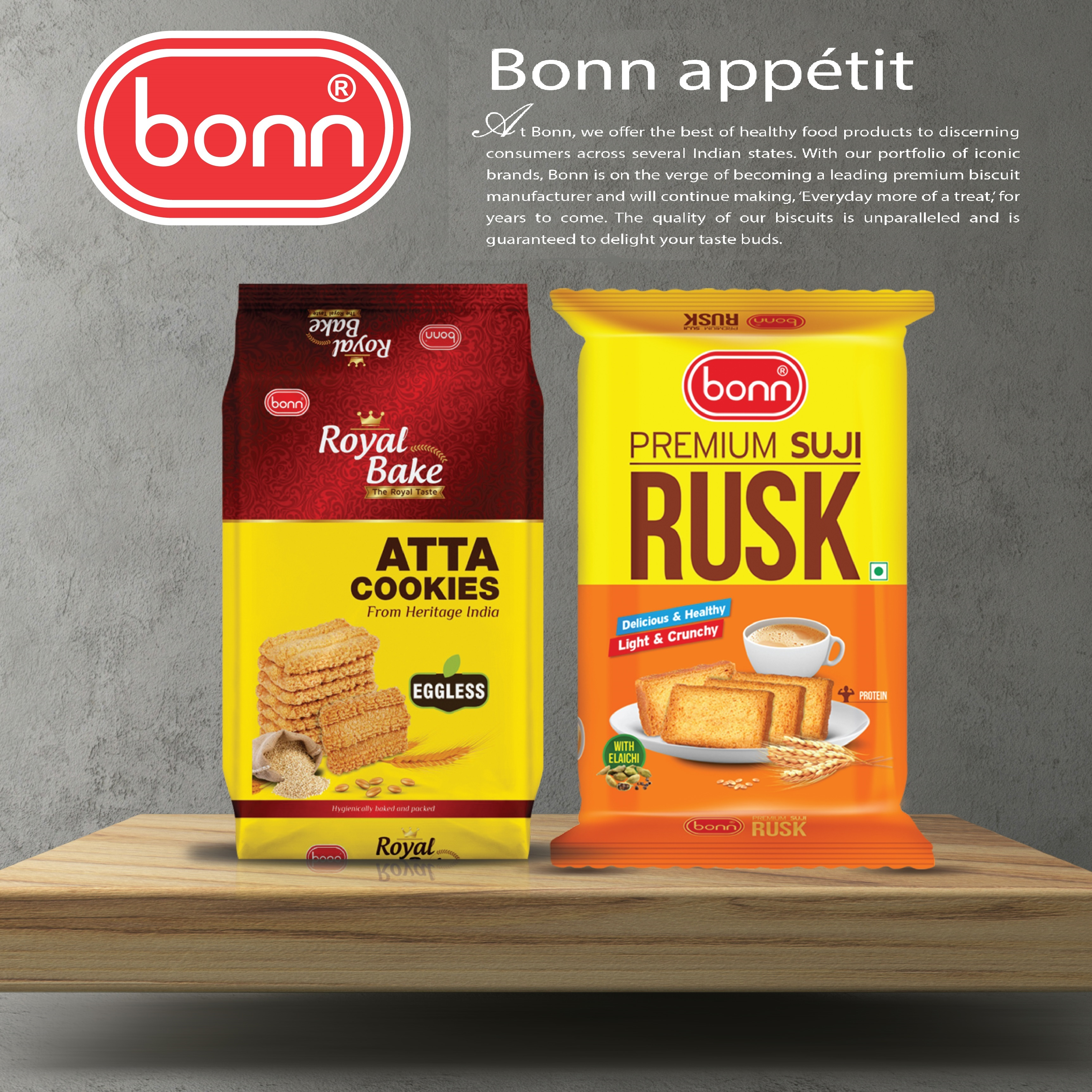 Tea time delights combo pack (Suji Rusk 275g and Royal Bake Atta Cookies 400g)