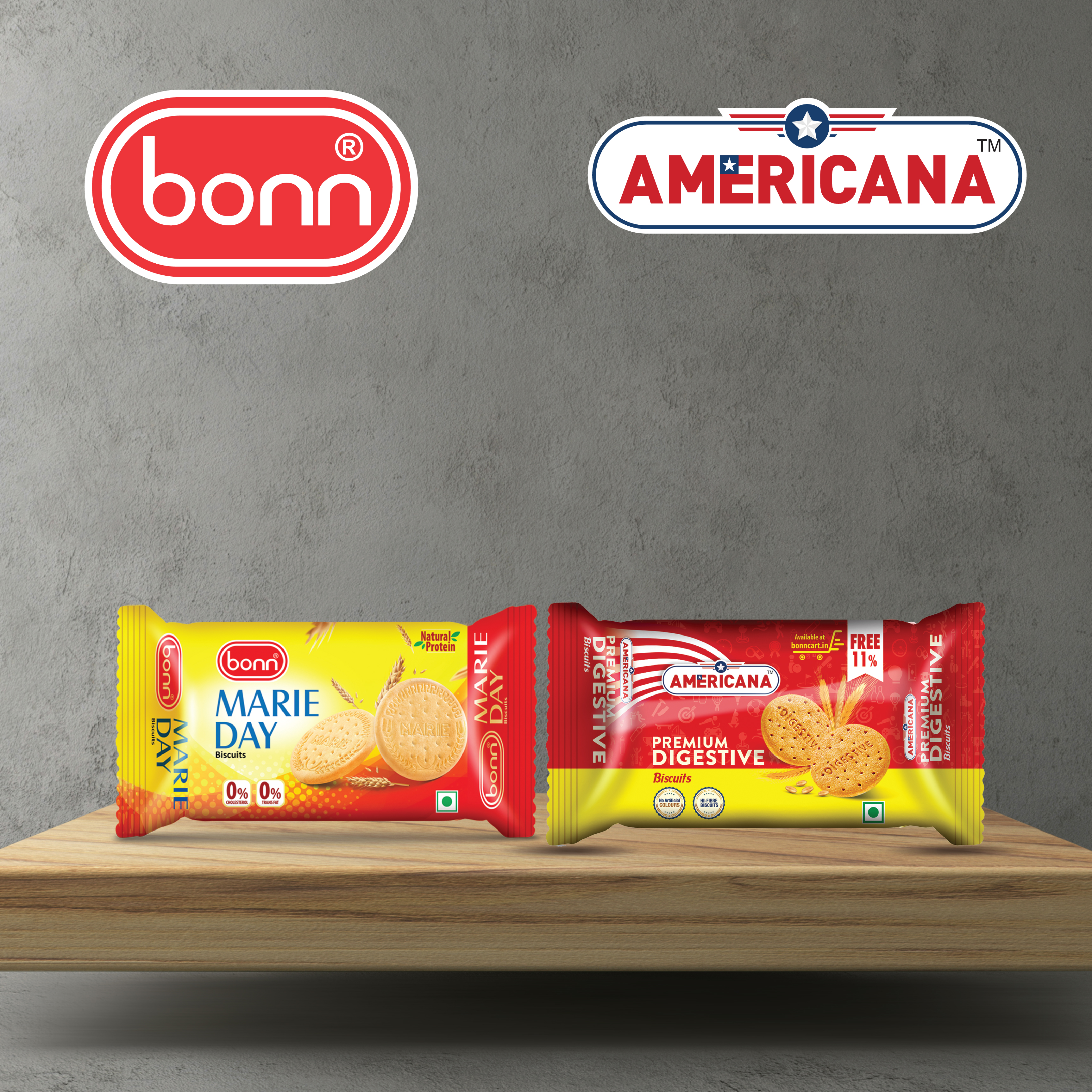 Digestive combo (Marie Day Biscuits 80g and Americana Digestive 78g), 5 Pack each