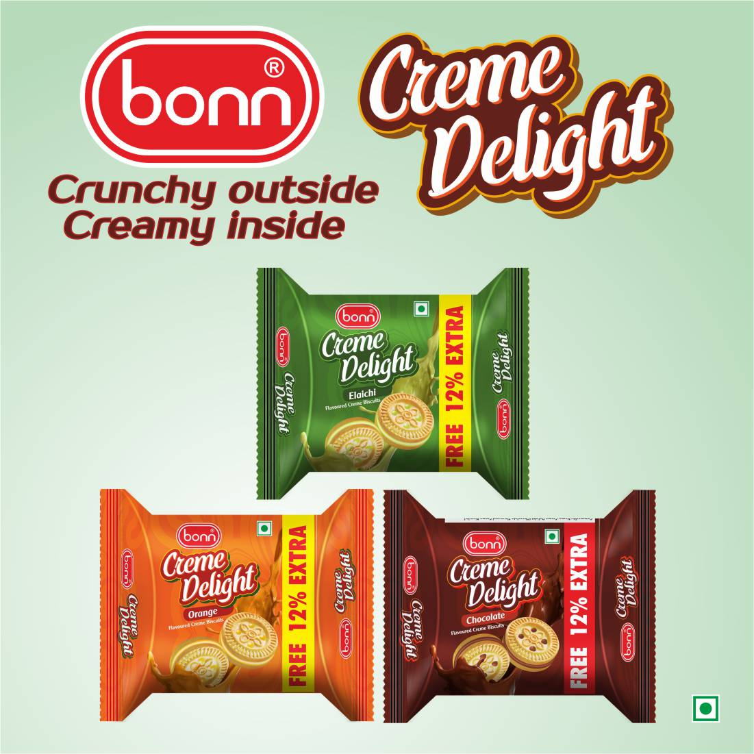 Bonn Creamy Delight 76g Combo pack (Orange, Chocolate and Elaichi Flavour) 5 Pack Each