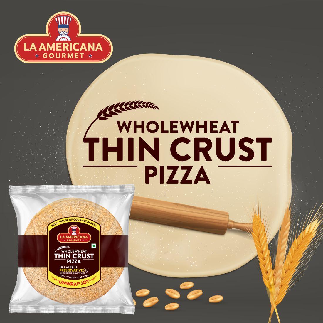 LA Americana Wholewheat Thin Crust Pizza Bread 200g