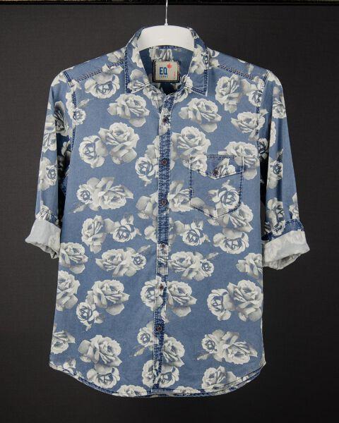 Men's Printed Denim Shirt