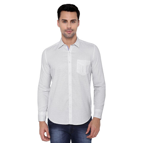 Men's White dotted print shirt