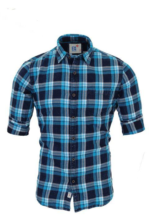 Indigo denim checks shirt