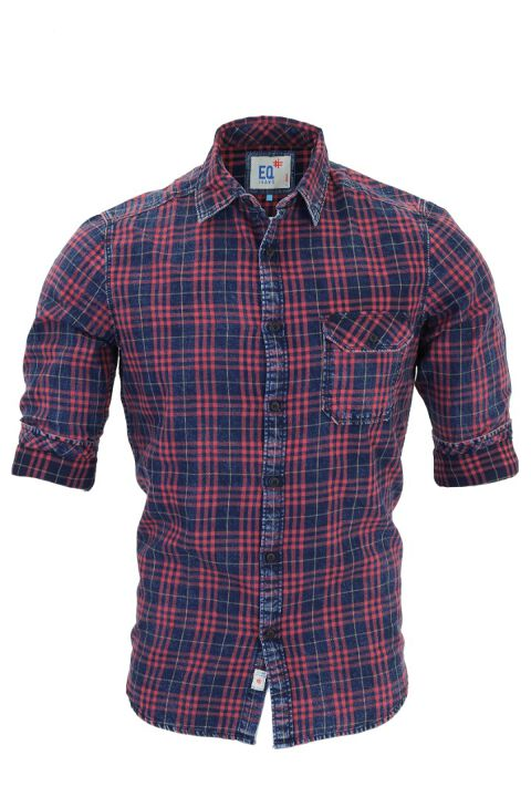 Indigo denim checks shirt