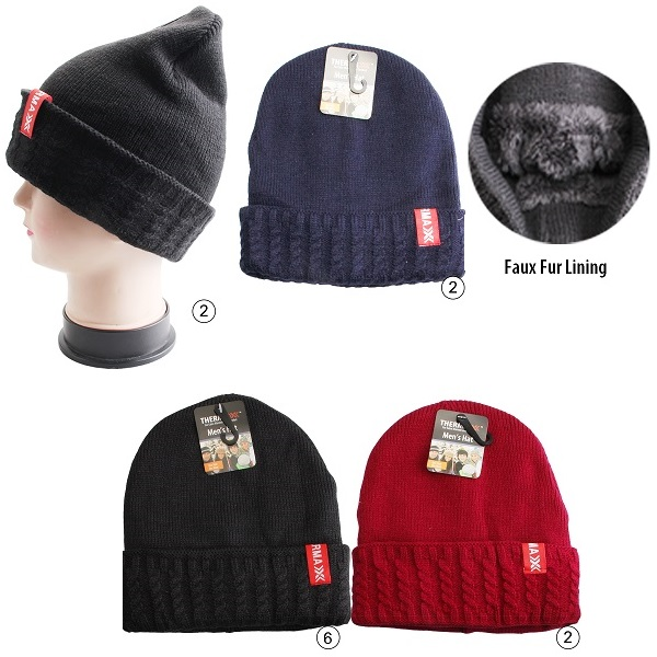 Thermaxxx Winter Knit Hat Men w/ Faux Fur Lining