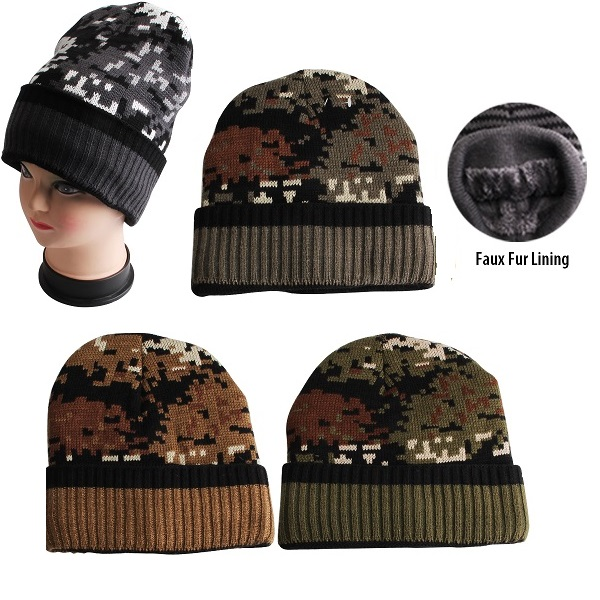 Thermaxxx Winter Hat Cuff Camo w/ Faux Fur Lining