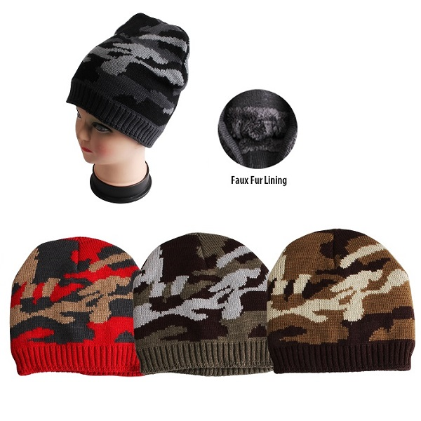 Thermaxxx Winter Hat Camo w/ Faux Fur Lining