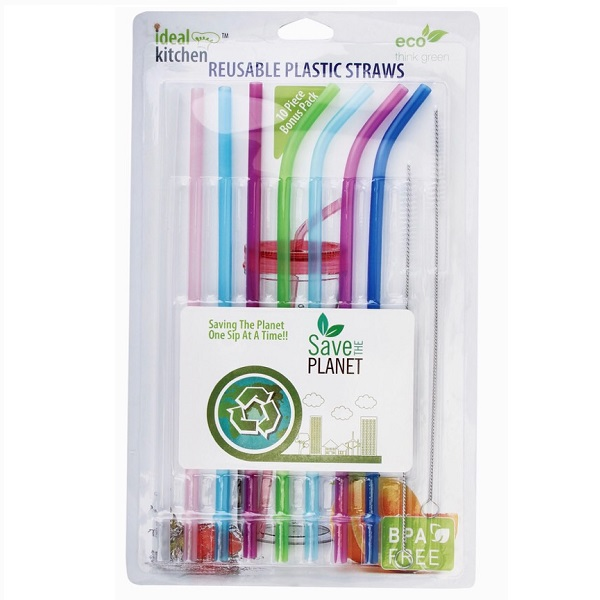 Ideal Kitchen Plastic Straw Reusable 8PK + 2 Cleaner