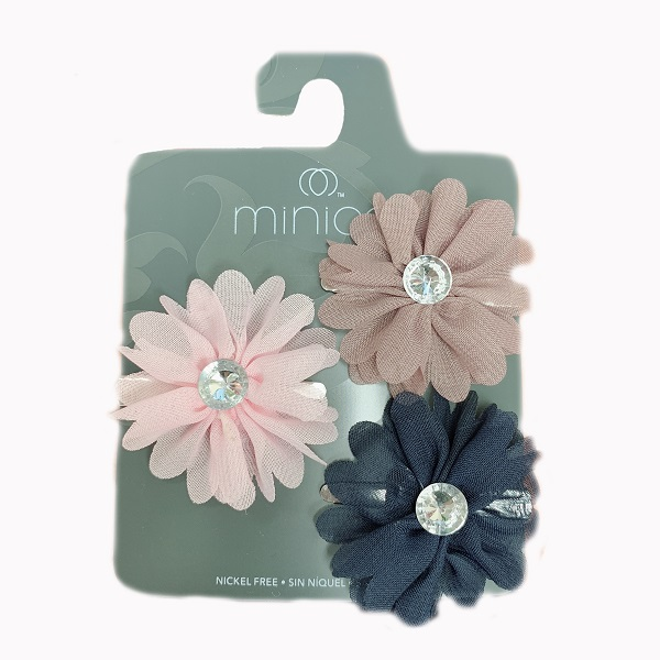 Hair Clip 3PK Flower Pink, Blue, Brown