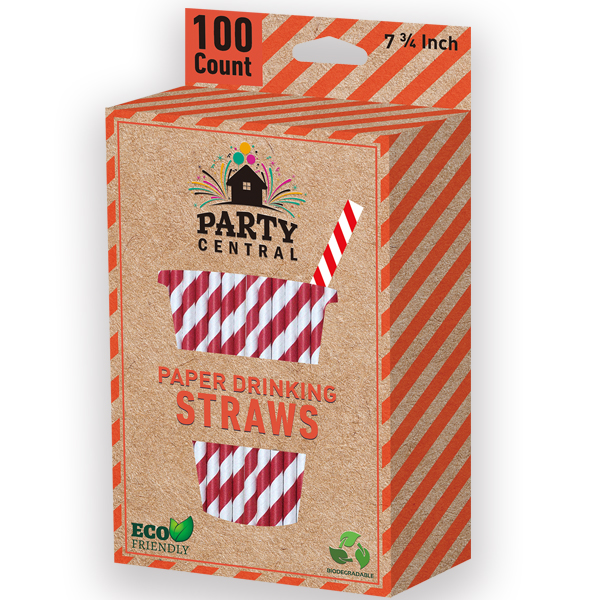 Party Central Paper Straws Colors 100CT