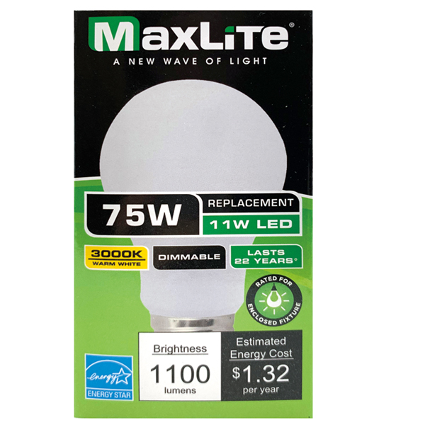 Maxlite LED Bulb 11W 75W 1PK Warm White