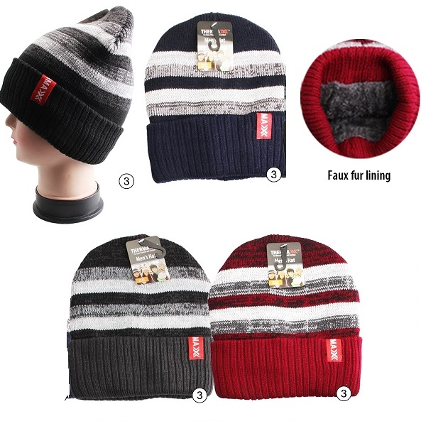 Thermaxxx Winter Knit Hat Men Stripes Light w/ Faux Fur Lini