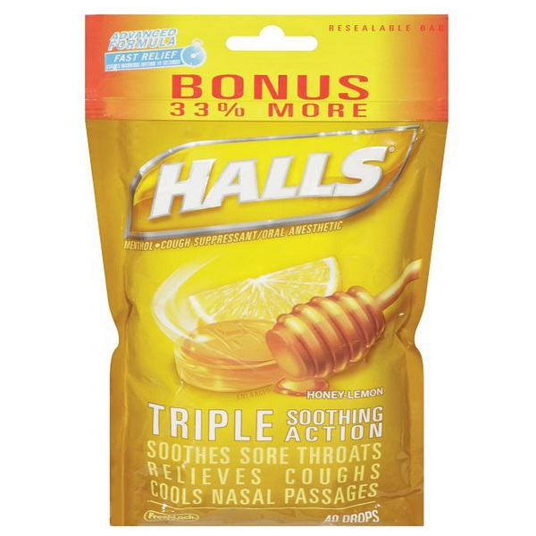 Halls Bag 40CT Lemon Honey