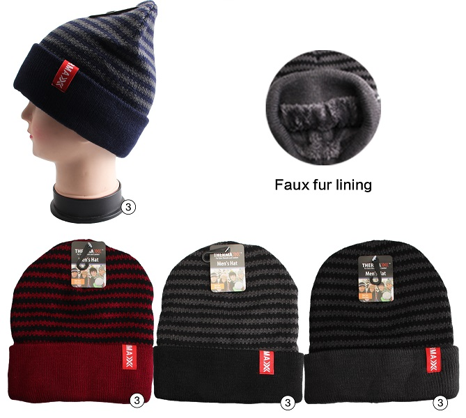 Thermaxxx Winter Knit Hat Men Stripes Dark w/ Faux Fur Linin