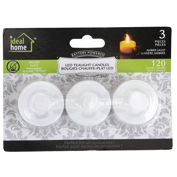 Ideal Home LED Tealight 3PK Amber Light