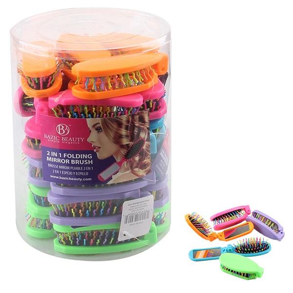 Bazic Beauty Hair Brush Rainbow w/ Mirror PVC Rect