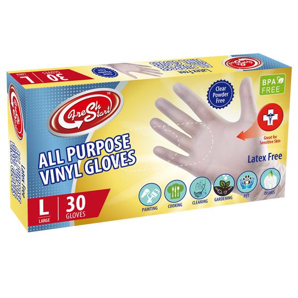 Fresh Start All Purpose Vinyl Gloves 30CT Large