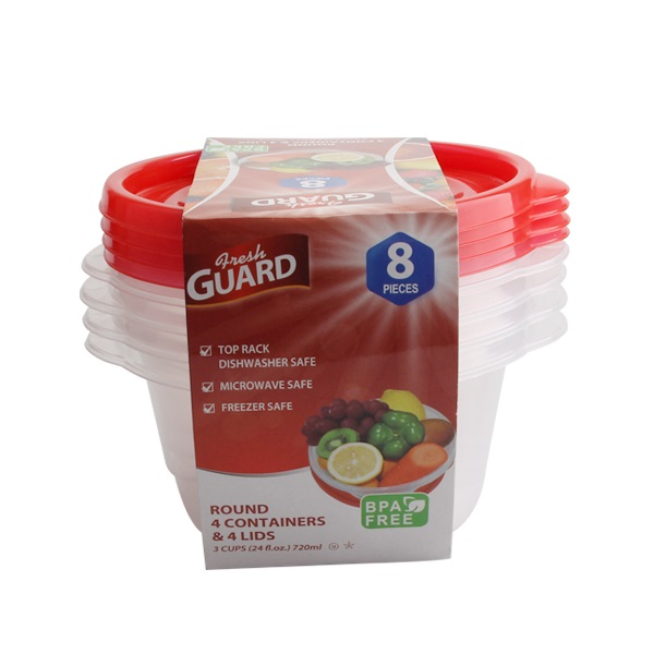 Fresh Guard Storage Container Red Round 24.35oz 8PK