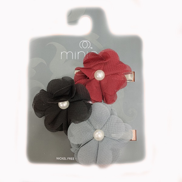 Hair Clip 3PK Flower Black, Grey, Red