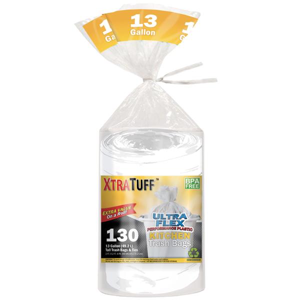 XtraTuff Trash Bag Kitchen White 13G 130CT Bag
