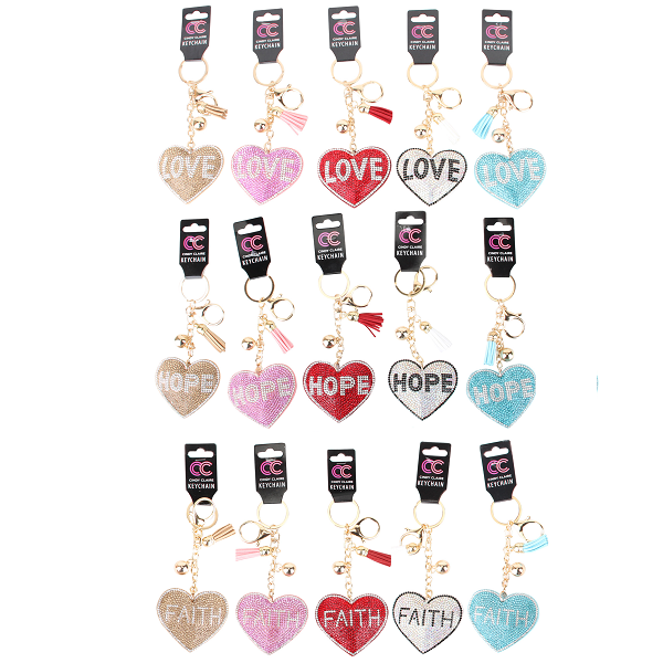 CC Keychain Heart Bling Bling w/ Words