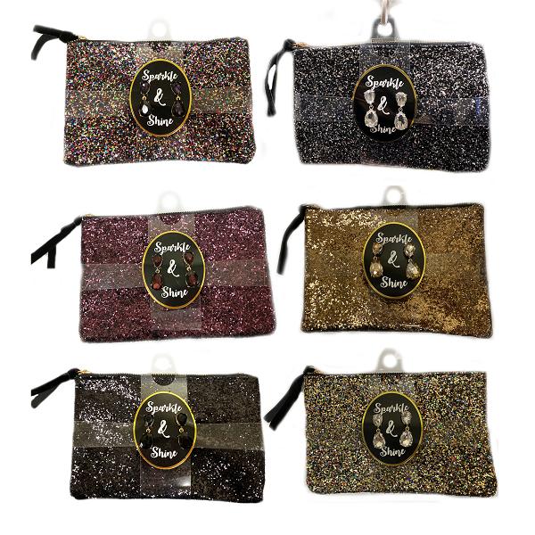 Fashion Glitter Bag 8x5in w/ Earrings