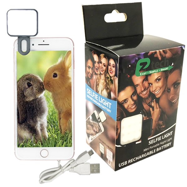 EZ-Tech Selfie Light USB Rechargable Battery Black