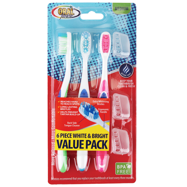 Oral Fusion Toothbrush 6PK White & Bright Med