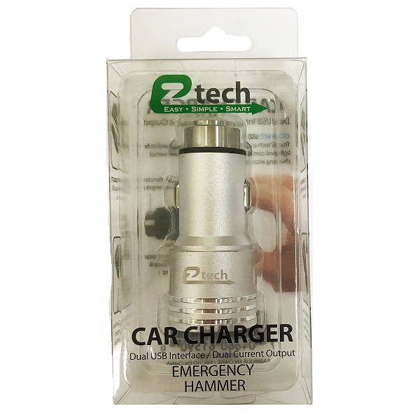 Ztech Car Charger Metal Silver