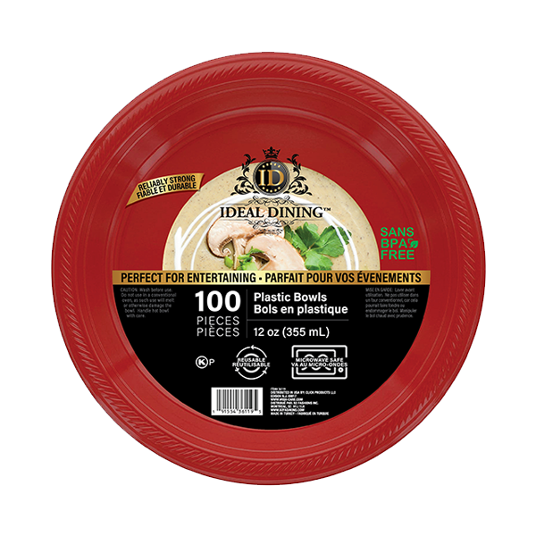 Ideal Dining Plastic Bowl 12oz Red 100CT