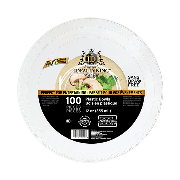 Ideal Dining Plastic Bowl 12oz White 100CT